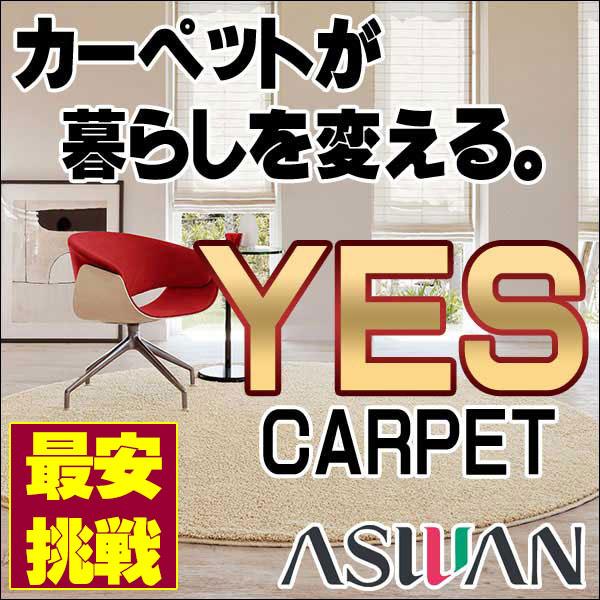【ポイント最大17倍】カーペット 激安 シャギー カーペット アスワン YES 中京間7.5畳(273×455cm)切りっ放しのジャストサイズ:アスレイン/ARN