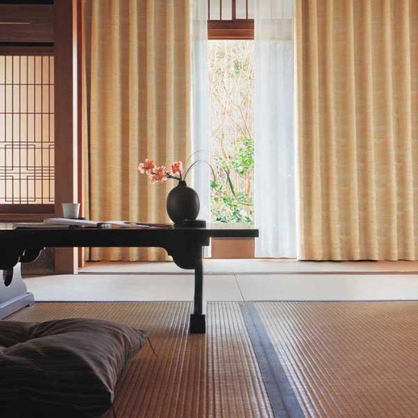 カーテン 激安 �リ オーダーカーテン&シェード elure 和風 KSA60190スタンダード縫製 約1.5�ヒダ 2ツ山仕様 (税別価格) タッセル�む