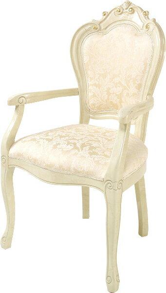 サルタレッリ ヴェルサイユ ダイニングチェア 肘付き 【送料無料】 木製 布張り チェア SVEI-709-IV 椅子 家具 輸入家具 イタリア家具 SVEI709-IV SVEI-709IV いす イス 姫系 白家具