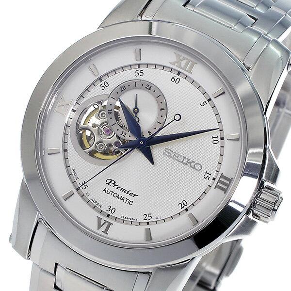 セイコー SEIKO プルミエ Premier 自動巻き 腕時計 SSA319J1 シルバー メンズ