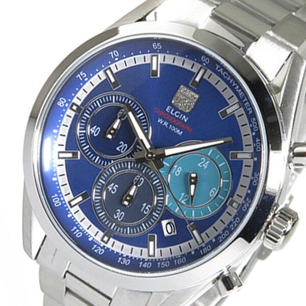 【期間限定】【ポイント2倍】(~9/19 09:59) エルジン ELGIN クロノグラフ クオーツ 腕時計 FK1411S-BL ブルー メンズ