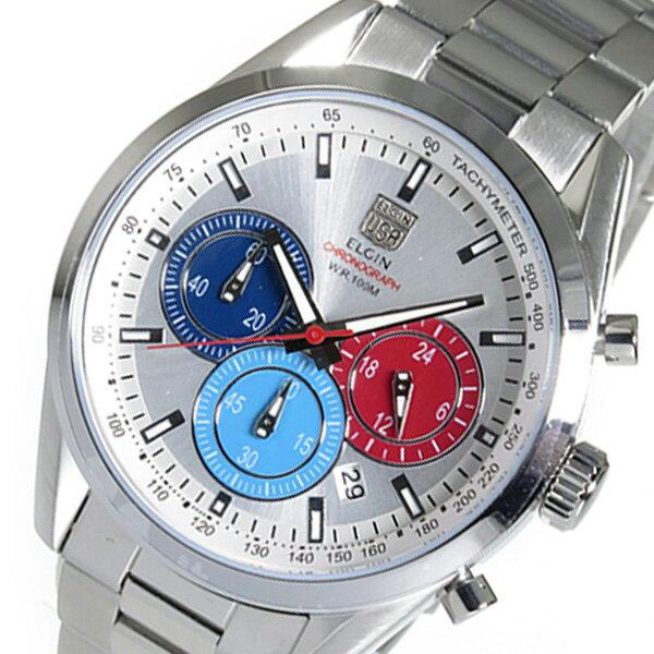 【期間限定】【ポイント2倍】(~9/19 09:59) エルジン ELGIN クロノグラフ クオーツ 腕時計 FK1411S-S シルバー メンズ