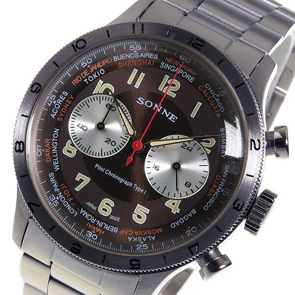【今月特価】【ポイント5倍】(~9/30) ゾンネ SONNE パイロット クロノグラフ クオーツ 腕時計 HI003BR ブラウン メンズ