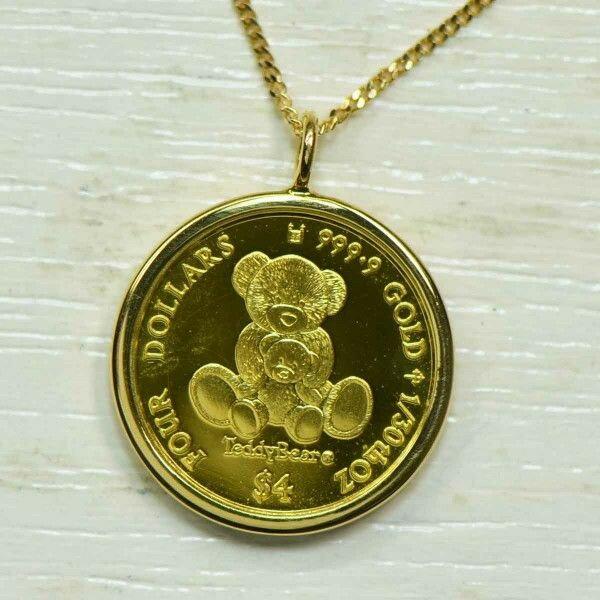 純金金貨 コイン 1/30オンス ペンダント K18YG テディべアペンダント レディース ギフト ゴールド 記念 限定品   PEN-B016-Y1411