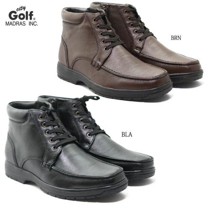 madras City Golf SPGF910 マドラス シティゴルフ メンズ ブーツ 天然皮革 本革 シボ皮 はっ水加工 防滑ソール 男性 紳士