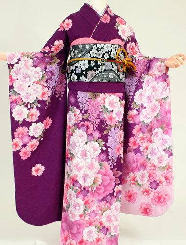 成人式 振袖 レンタル K6148中野浩道 明紫ピンク雪輪(成人式 結婚式 結納 お呼ばれ 振袖フルセット)