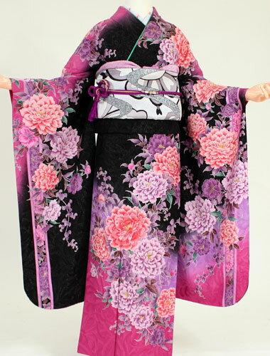 【成人式 振袖 レンタル】K4134マーキュリーデゥオ黒ラメピンク牡丹(成人式 結婚式 結納 お呼ばれ 振袖フルセット)