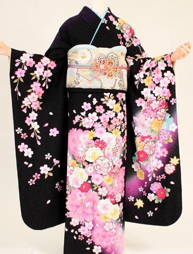 【成人式 振袖 レンタル】K4156黒地ピンク垂れ桜(成人式 結婚式 結納 お呼ばれ 振袖フルセット)
