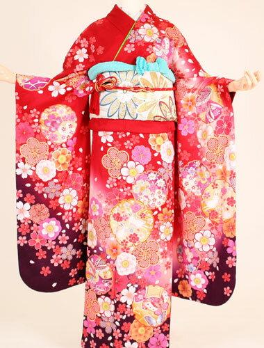【成人式 振袖 レンタル】K4185赤地丸兎紫(成人式 結婚式 結納 お呼ばれ 振袖フルセット)