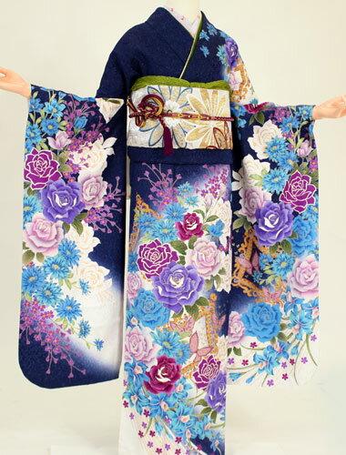 【成人式 振袖 レンタル】K4197青地白暈し紫花(成人式 結婚式 結納 お呼ばれ 振袖フルセット)