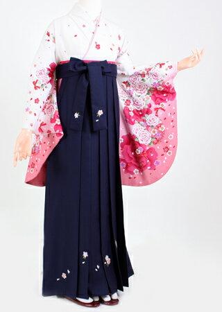 【着物 袴レンタル】S040/H038アンアン白ピンク暈し花/紺桜刺繍紐花(卒業式 袴セット)