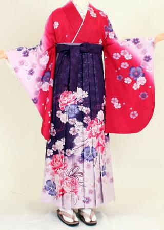 【着物 袴レンタル】S063/H054濃ピンク暈し紫花/紫地銀ラメ大花(卒業式 袴セット)