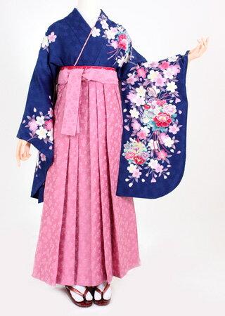 【着物 袴レンタル】S065/H052鮮青地ピンク花盛り/ピンク桜小花(卒業式 袴セット 女)
