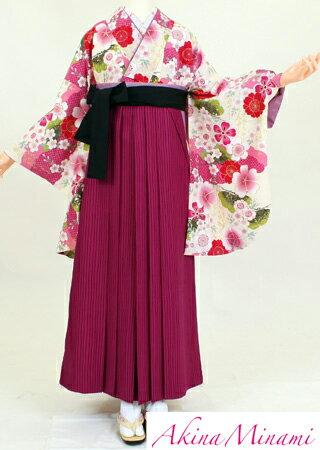 【着物 袴レンタル】S117/H117アッキーナ桃桜松/紫ストライプ(卒業式 袴セット 女)