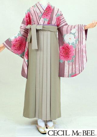 【着物 袴レンタル】S119/H119セシルマクビーピンクsimaバラ/ベージュ千鳥(卒業式 袴セット 女)