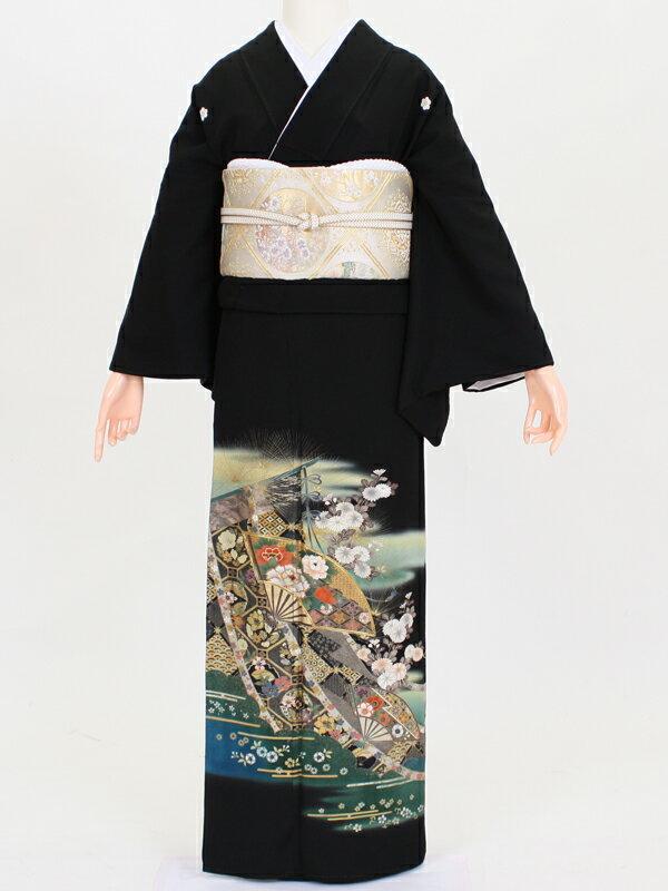【留袖 レンタル 結婚式 着物】 TC036 水色暈し金屏風 黒留袖 貸衣装 留袖セット 女性和服 とめそで