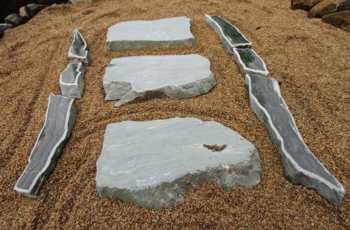 【送料無料】伊予青石(自然石)「庭石・飛び石・飛石・踏み石・踏石・拝石」3石組