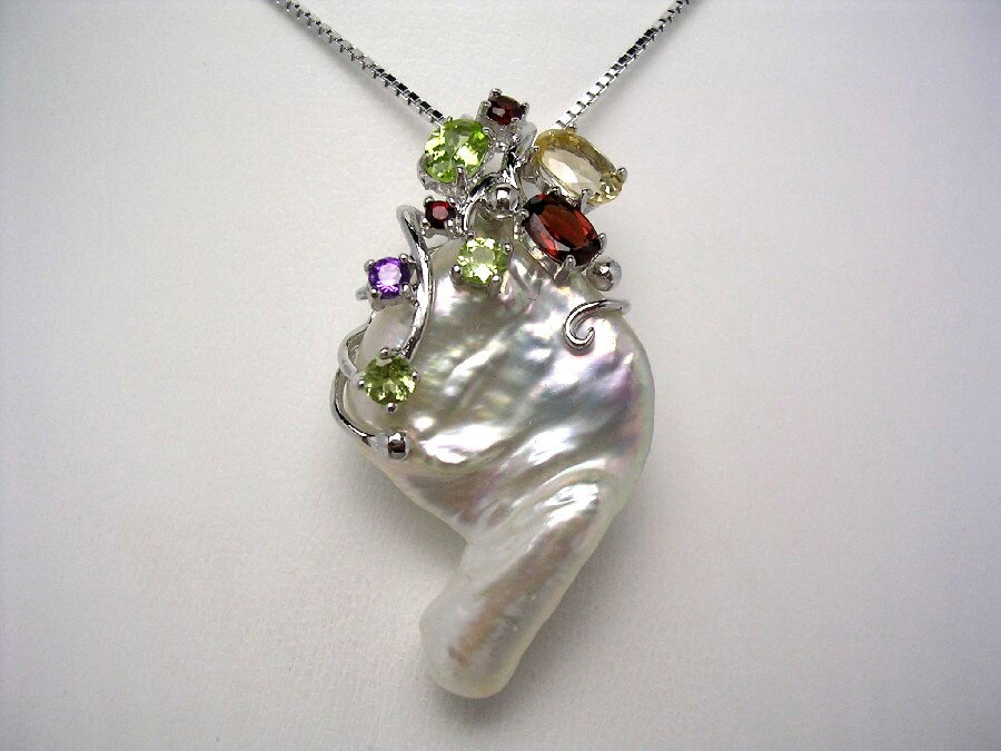 【送料無料】淡水真珠 ペンダント 30×20mm ホワイトピンク 天然石 シルバー  42839 イソワパール