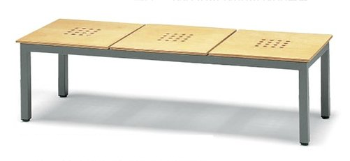 長椅子 CL373-MW 幅146cm 背なし 木製座面 ロビーチェア 待合イス