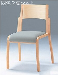 CM406-WNX_X2 木製椅子 教育用椅子 4本脚 ウレタン塗装 肘なし ポリオレフィンレザー張り 【同色2脚セット】