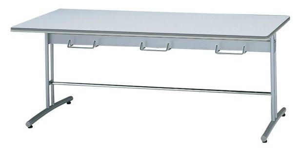 TM5752-MZ 長方形:幅150×奥行75×高さ70cm ミーティングテーブル ダイニングテーブル T字脚 塗装脚 ハンガー付