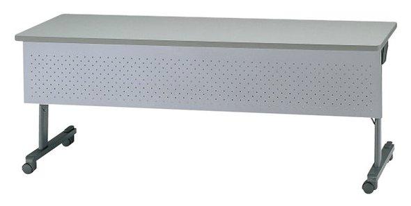 TM313-MG 長方形:幅180×奥行60×高さ70cm ミーティングテーブル 会議テーブル スタック 塗装 キャスター付 幕板付き