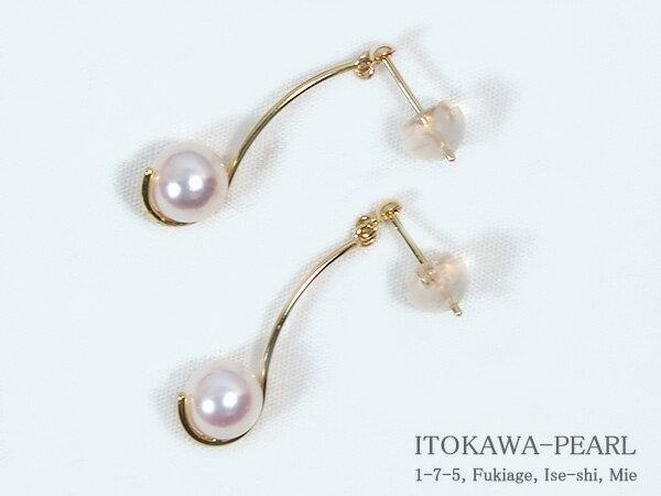 あこや真珠ピアスパールピアス<6.2mm>K18アコヤ真珠 PE-6490【当店のクーポンを是非ご利用下さい】