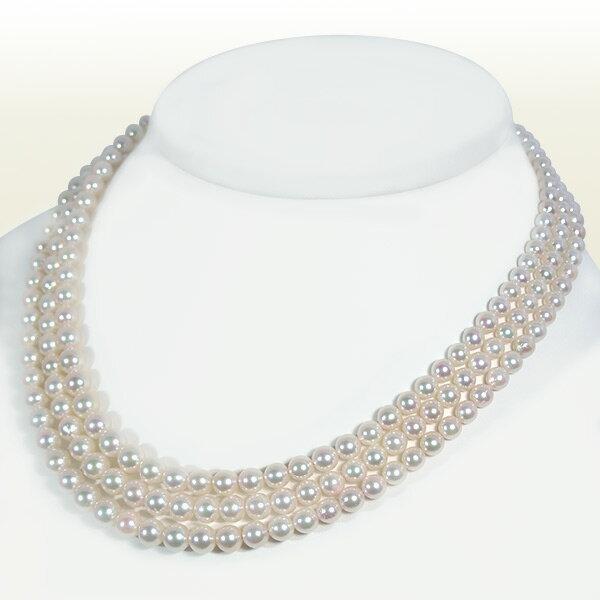 ホワイト系あこや真珠ネックレス3連グラデーションネックレスパールネックレス<3.5~6.5mm>アコヤ真珠 N-10486【当店のクーポンを是非ご利用下さい】