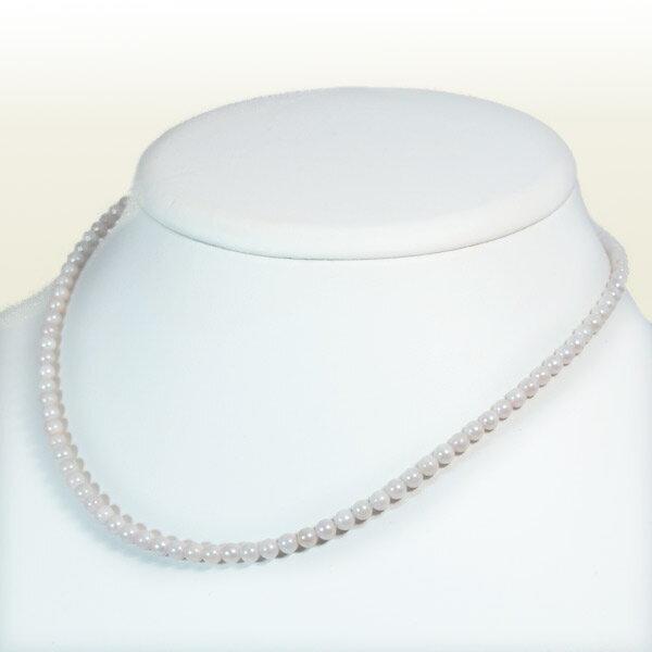 ホワイト系あこや真珠ネックレスベビーパールネックレス<3.5~4mm>アジャスター付・K14WGアコヤ真珠 N-9801【当店のクーポンを是非ご利用下さい】