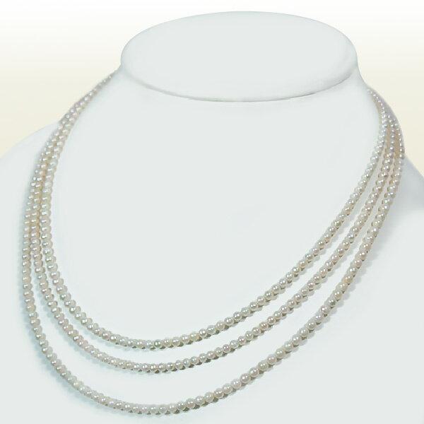 ベビーパールロングネックレス (142cm)あこや真珠ネックレスパールネックレス<3~3.5mm>アコヤ真珠 N-10853【当店のクーポンを是非ご利用下さい】