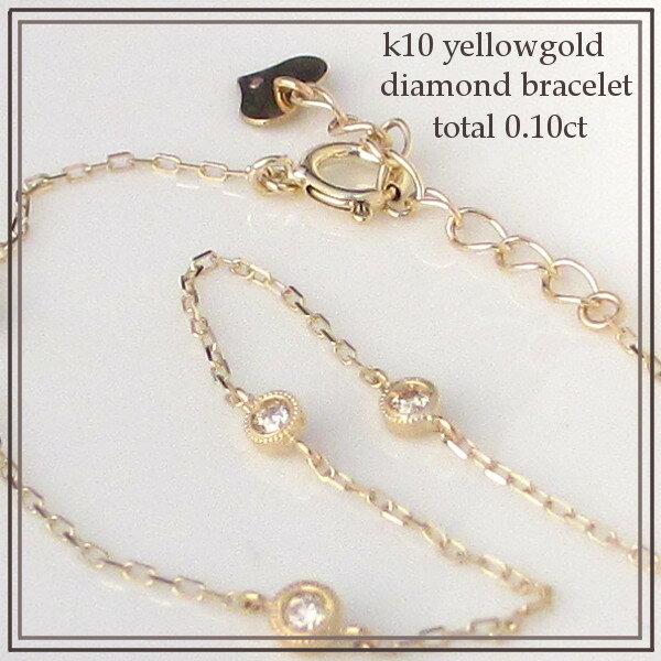 K10イエローゴール ド K10ピンクゴールド K10ホワイトゴールド ダイヤモンド ブレスレット K10金 ミル