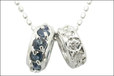 K10WG サファイア ダイヤモンド ダブルミニリング ネックレス 1295629【送料無料】【05P03Dec16】