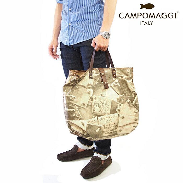 CAMPOMAGGI カンポマッジ ヴィンテージ 2WAYトートバッグ  キャンバス×レザー C1495 TESVLT  1701/ブラウン×ダークブラウン  Mサイズ  ショルダーバッグ イタリア製