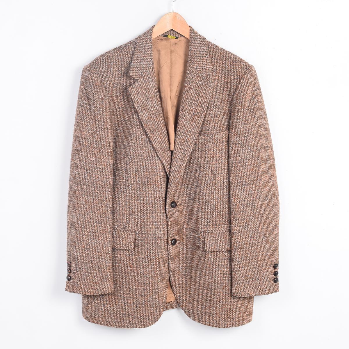 80年代 ハリスツイード USA製 ウールテーラードジャケット メンズM ヴィンテージ Harris Tweed /wey0161 【中古】 【170114】