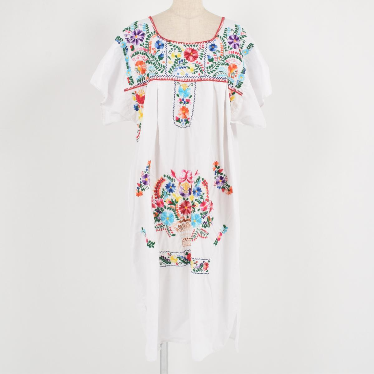 売却 花柄刺繍 ハンド刺繍 メキシカンワンピース レディースXL /wai5270 【中古】 【170804】