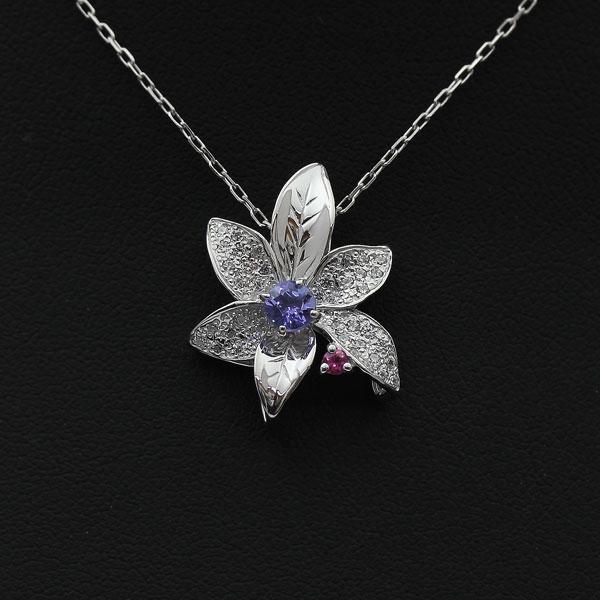 K18WG タンザナイト ダイヤモンド フラワーペンダント ネックレス