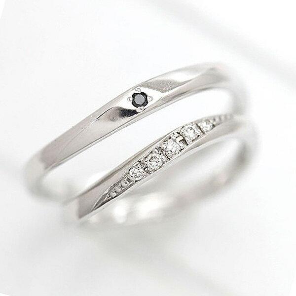 PT900(Pt90%) ダイヤモンド 0.05ct ブラックダイヤ 0.01ct プラチナ ペアリング【結婚指輪】