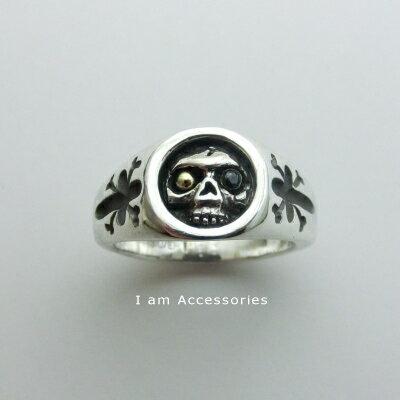 Skull Ring CZ Silver925 / スカルリング キュービックジルコニア シルバー925【受注生産商品】【オリジナル】【ドクロ】【クロスボーン】【シルバー925指輪】【i am accessories】