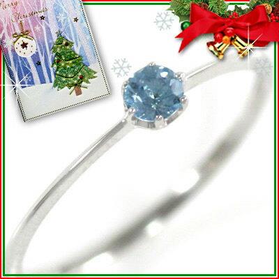 クリスマス限定Xmasカード付( 11月誕生石 ) K18ホワイトゴールド ブルートパーズリング【楽ギフ_包装】