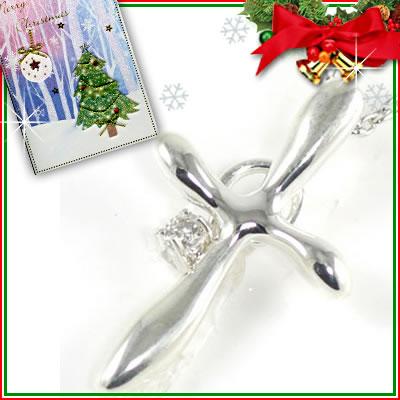 クリスマス限定Xmasカード付◆( 4月誕生石 ) シルバー ダイヤモンドペンダントネックレス(クロスモチーフ)【楽ギフ_包装】 【DEAL】