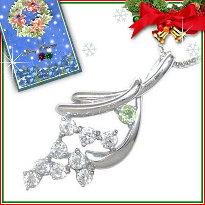 クリスマス限定Xmasカード付( 8月誕生石 ) K18ホワイトゴールド ダイヤモンド・ペリドットペンダントネックレス【楽ギフ_包装】