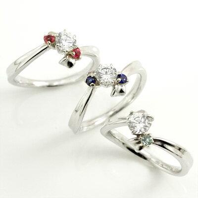 選べる誕生石 プラチナ ダイヤモンドリング(婚約指輪・エンゲージリング)【楽ギフ_包装】
