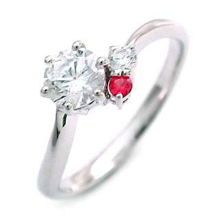 CanCam掲載( 7月誕生石 ) ルビー Pt ダイヤモンドリング(婚約指輪・エンゲージリング)【楽ギフ_包装】