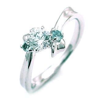 ( 3月誕生石 ) アクアマリン Pt ダイヤリング(婚約指輪・エンゲージリング)【楽ギフ_包装】
