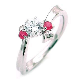 ( 7月誕生石 ) ルビー Pt ダイヤモンドリング(婚約指輪・エンゲージリング)【楽ギフ_包装】
