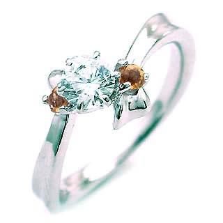 ( 11月誕生石 ) シトリン Pt ダイヤモンドリング(婚約指輪・エンゲージリング)【楽ギフ_包装】