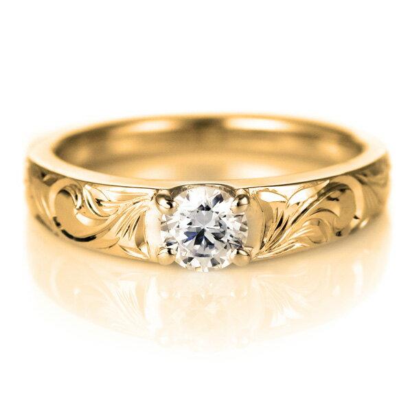 結婚指輪 マリッジリング 人気 ハワイアンジュエリー ペアリング ダイヤモンド 一粒 大粒 イエローゴールド 結婚式 18金 K18YG ダイヤ ストレート カップル