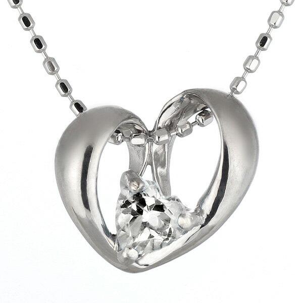 ネックレス メンズ ( 4月誕生石 ) K18WG ダイヤモンドネックレス(ハートモチーフ)【楽ギフ_包装】