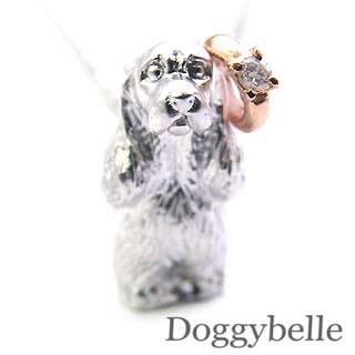 ( 4月誕生石 ) プラチナ K10ダイヤモンドペンダントネックレス(アメリカン・コッカー・スパニエル) 犬 【楽ギフ_包装】