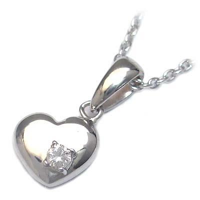 ( 4月誕生石 ) シルバー ダイヤモンドペンダントネックレス(ハートモチーフ)【楽ギフ_包装】 【DEAL】